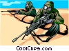 Soldiers in full chemical weapons dress Vector Clipart illustration