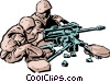 Vector Clip Art image  of a Soldiers with machine gum