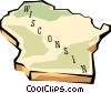 Wisconsin state map Vector Clipart picture
