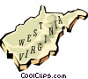 Vector Clipart graphic  of a West Virginia state map