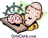 Racking his brain Vector Clipart image
