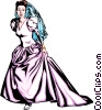 Vector Clipart graphic  of a Woman in bride dress