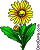Vector Clip Art image  of a Yellow flower