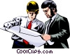 Men studying construction plans Vector Clipart graphic