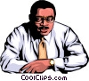 Vector Clipart graphic  of a Black office worker