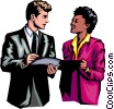 Vector Clip Art graphic  of a Man & woman discussing