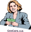 Vector Clip Art graphic  of a Woman with money