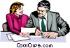 Vector Clip Art graphic  of a Man & woman at work