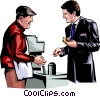 Vector Clip Art image  of a Man buying a hotdog