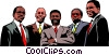 Group of black business men Vector Clipart illustration