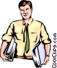 Vector Clip Art image  of a Man with armloads of work