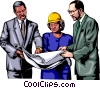 Three people discussing plans Vector Clipart image