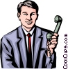 Vector Clipart illustration  of a Man with phone