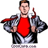 Vector Clip Art image  of a Man with shirt open