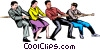 Vector Clip Art graphic  of a Tug-of-war