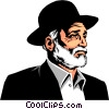 Vector Clipart graphic  of a Rabbi wearing hat