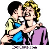 Vector Clip Art graphic  of a Woman & child