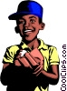 Vector Clipart picture  of a Boy playing baseball