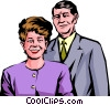 Vector Clipart illustration  of a Couple dressed up to go out