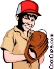 Boy playing baseball Vector Clip Art image