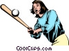 Vector Clipart illustration  of a Girl playing baseball