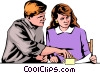 Man & woman looking at papers Vector Clip Art picture
