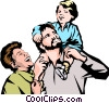 Vector Clip Art image  of a Man with wife  and child