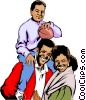 Vector Clipart image  of a Black man with wife & child
