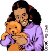 Vector Clip Art graphic  of a Girl with teddy bear