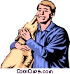 Vector Clipart image  of a Dog licking man's face