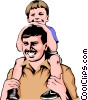 Vector Clipart illustration  of a Father & son