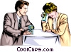 Vector Clip Art graphic  of a Romantic encounter over drinks