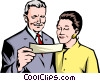 Vector Clipart illustration  of a Older couple looking at paper