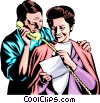Man & woman with telephone Vector Clipart picture