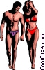 Vector Clip Art picture  of a Holiday couple in bathing