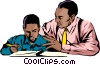 Black teacher & student Vector Clipart illustration