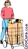 Vector Clipart graphic  of a Woman with grocery cart