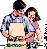 Man & woman preparing dinner Vector Clip Art picture