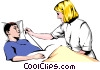 Nurse checking for a fever Vector Clipart illustration