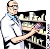 Vector Clip Art graphic  of a Pharmacist preparing