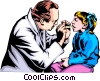 Vector Clip Art image  of a Doctor checking young patient