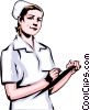 Vector Clip Art graphic  of a Nurse with clipboard