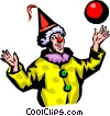 Vector Clipart graphic  of a Clown with ball