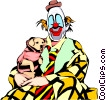 Clown with puppy Vector Clipart illustration
