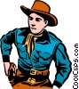 Vector Clipart graphic  of a Cowboy reaching for his gun