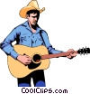 Vector Clipart illustration  of a Cowboy guitar player