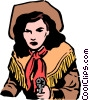 Vector Clip Art image  of a Cowgirl with a gun