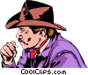 Cowboy smoking Vector Clipart illustration
