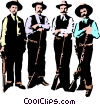 Vector Clip Art graphic  of a Old west gun fighters