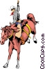 Vector Clip Art graphic  of a Cowboy riding a horse